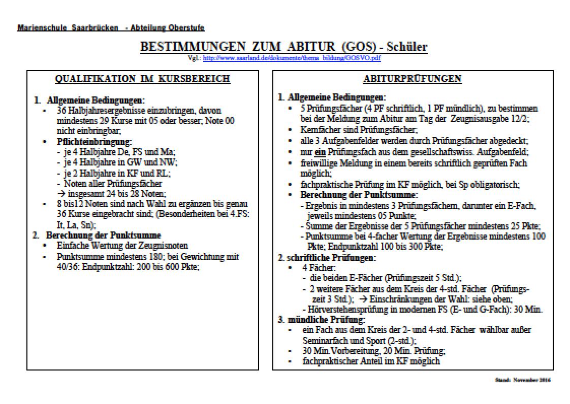 Bestimmungen zum Abitur
